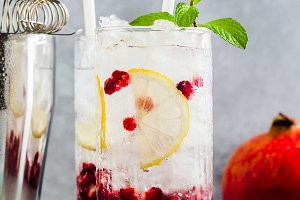 refreshing alcoholic drink mojito with lemon and pomegranate see