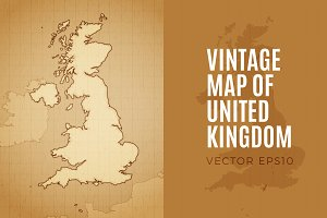 Vintage Map of the United Kingdom
