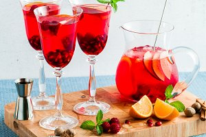 fresh summer red sangria from ripe fruits and berries, as well a