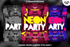 3in1 NEON Minimal Flyer Template