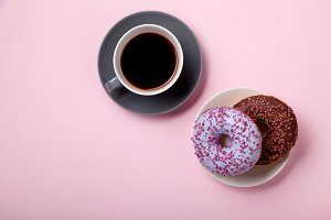 Glazed berry and chocolate donuts