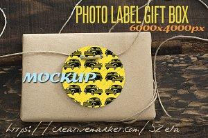 Photo Mockup, label and gift box rec