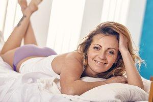 beautiful woman just woke up