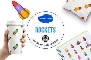 Rockets icons set, cartoon style