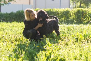 Girl and Russian black Terrier sitting on the grass in the Park