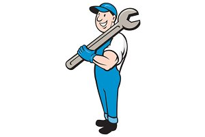 Mechanic Smiling Spanner Standing Ca