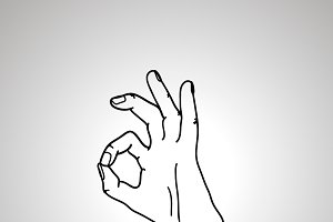 Cartoon hand in OK gesture