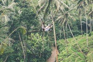 Woman swings in the deep jungle. Bali island.