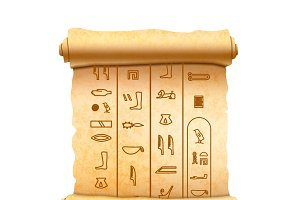 Papyrus scroll with egypt signs