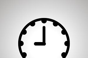 Clock face icon showing 9-00