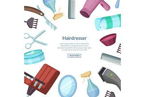 Vector hairdresser or barber cartoon elements background