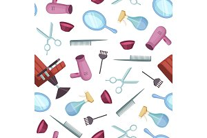 Vector hairdresser or barber cartoon elements pattern