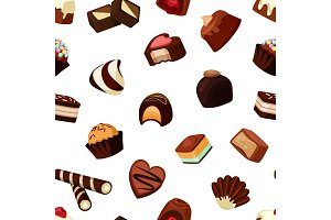 Vector cartoon chocolate candies pattern or background illustration