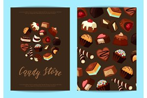 Vector card or flyer set for with cartoon chocolate candies