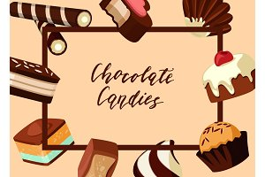 Vector frame with cartoon chocolate candies