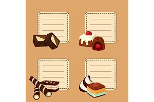 Vector set of stickers with cartoon chocolate candies