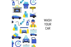 Vector with car wash flat icons