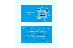 Vector business card template for car washing service with flat icons