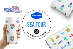 Sea tour icons set, cartoon style