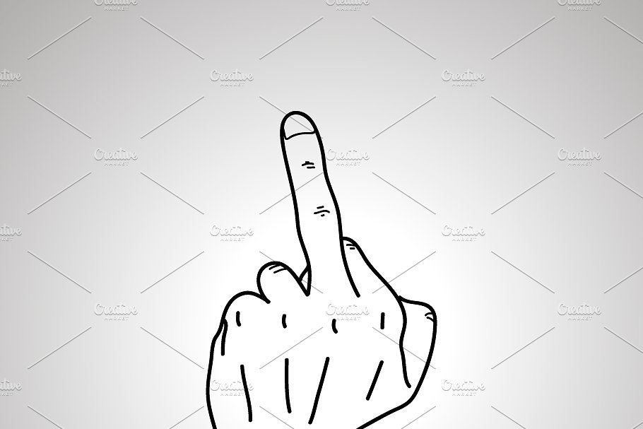 Cartoon hand in middle finger