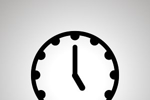 Clock face icon showing 5-00