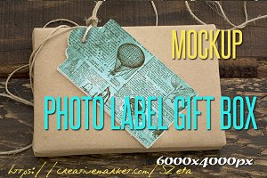 Photo Mockup, label and gift box