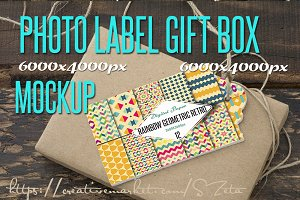 Photo Mockup, label and gift box rec