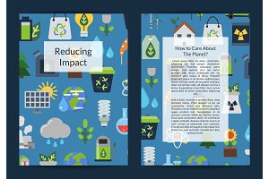 Vector card or flyer templates set with ecology flat icons illustration