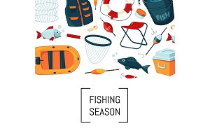 Vector cartoon fishing equipment