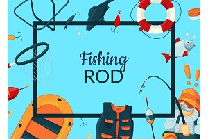 Vector cartoon fishing equipment illustration