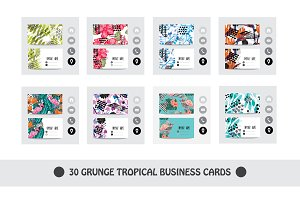 30 Grunge Tropical Business Cards
