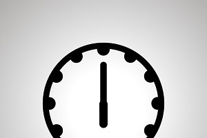 Clock face icon showing 6-00