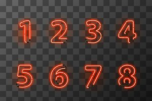 Bright red neon numbers