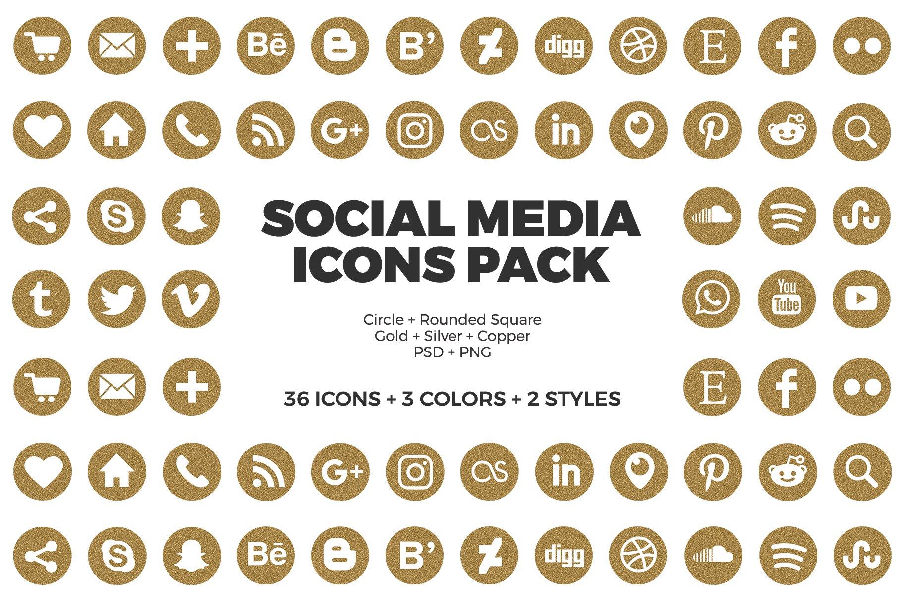 Social Media Icons Glitter Pack Pre Designed Photoshop Graphics Creative Market
