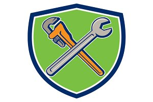 Spanner Monkey Wrench Crossed Crest
