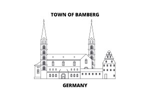 Germany, Town Of Bamberg line icon concept. Germany, Town Of Bamberg linear vector sign, symbol, illustration.