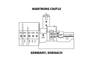 Germany, Eisenach  Wartburg Castle line icon concept. Germany, Eisenach  Wartburg Castle linear vector sign, symbol, illustration.
