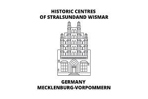 Germany, Mecklenburg-Vorpommern, Historic Centres Of Stralsundand Wismar line icon concept.