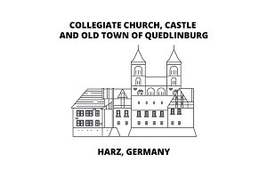 Collegiate Church, Castle, And Old Town Of Quedlinburg line icon concept. Collegiate Church, Castle, And Old Town Of Quedlinburg linear vector sign, symbol, illustration.