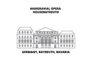 Germany, Bayreuth, Bavaria, Margravial Opera Housebayreuth line icon concept. Germany, Bayreuth, Bavaria, Margravial Opera Housebayreuth linear vector sign, symbol, illustration.