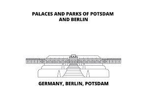 Germany, Berlin, Potsdam, Palaces And Parks line icon, vector illustration. Germany, Berlin, Potsdam, Palaces And Parks flat concept sign.
