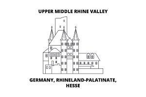 Germany, Rhineland-Palatinate, Hesse, Upper Middle Rhine Valley line icon concept. Germany, Rhineland-Palatinate, Hesse, Upper Middle Rhine Valley linear vector sign, symbol, illustration.