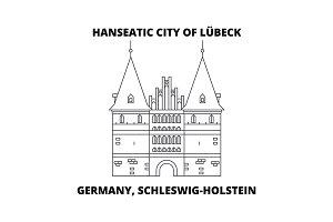 Germany, Schleswig-Holstein, Hanseatic City Of Lubeck  line icon concept. Germany, Schleswig-Holstein, Hanseatic City Of Lubeck  linear vector sign, symbol, illustration.