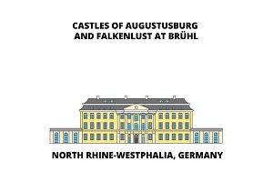 Castles Of Augustusburg Westphalia  Germany line icon concept. Castles Of Augustusburg Westphalia  Germany flat vector sign, symbol, illustration.