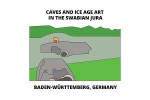 Caves , Baden-Wurttemberg, Germany line icon concept. Caves , Baden-Wurttemberg, Germany flat vector sign, symbol, illustration.