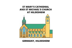 Germany, Hildesheim, St Mary's Cathedral And St Michael's Church At Hildesheim line icon concept, flat vector sign, symbol, illustration.