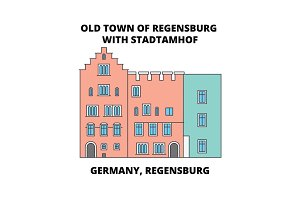 Germany, Regensburg, Old Town Stadtamhof line icon concept. Germany, Regensburg, Old Town Stadtamhof flat vector sign, symbol, illustration.