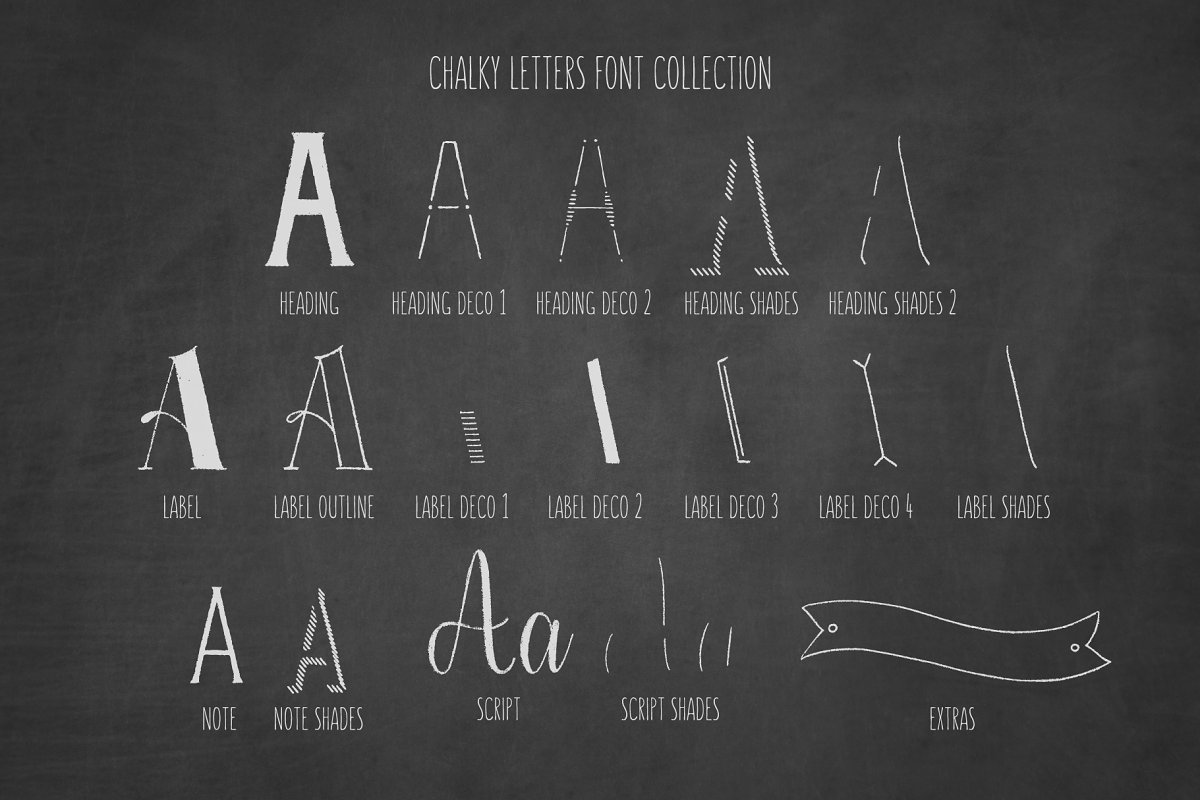 Chalky Letters font collection in Lettering Fonts - product preview 8