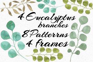 Watercolor Eucalyptus collection