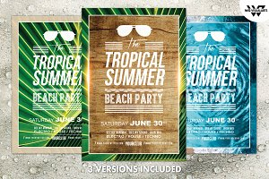 3in1 TROPICAL SUMMER Flyer Template